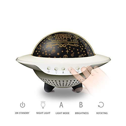 LQCN UFO Stern Sternenhimmel Projektor LED Nachtlicht Bluetooth Lautsprecher Lampe Baby Mädchen Geburtstag Valentinstag Kinder Geschenk, 1 Stern Film, 163 * 105mm