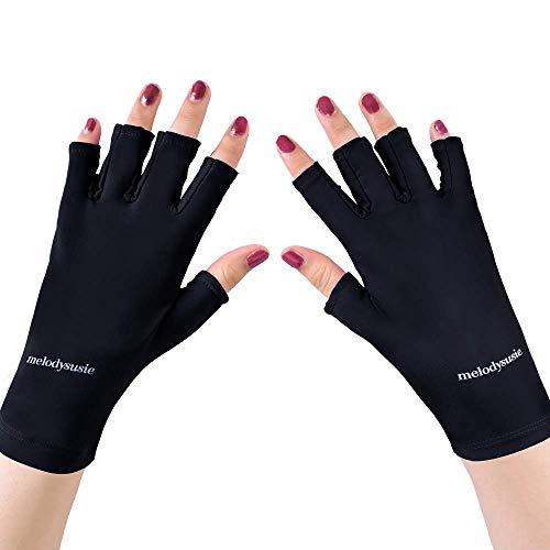 MelodySusie Gants de Manucure Anti-Ultraviolet en LYCRA Noir …