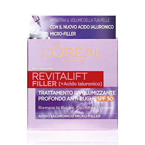 L Oréal Paris Crema Viso Giorno Revitalift Filler, Azione Antirughe Rivolumizzante con Acido Ialuronico Micro-filler, SPF 50, 50 ml