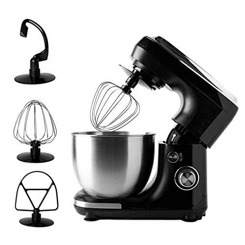 KOUQI Küchenmaschine 400W Mit 4L Edelstahl-Rühlschüssel, Rührbesen, Knethaken, Schlagbesen Und Spritzschutz, 6 Geschwindigkeit Geräuschlos Teigmaschine