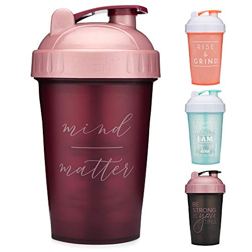 Motivational Quotes on Performa Perfect Shaker Bottle 20 Ounce Classic Protein Shaker Bottle Dishwasher Safe Leak Proof Multiple Sayings and Colors Mind Over Matter  Maroon/Rose  20oz
