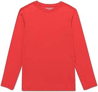 DEESPACE Unisex Kids Long-Sleeve 100% Cotton Tee Crewneck T-Shirt for Boys or Girls (3-12Years)