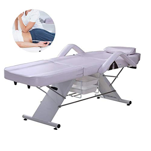 SXBAR STOOLS Massagebett Professioneller Pflegestuhl aus PU-Leder Faltbare ergonomische Gesichtstherapie-Schlafsofas,Weiß