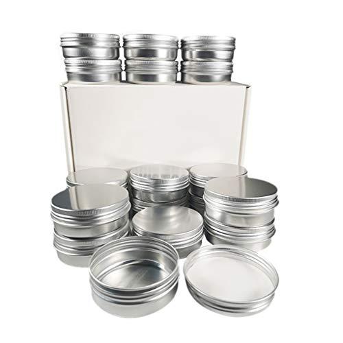 GROOMY - Lote de 18 tarros de aluminio vacíos de 60 g, recipientes cosméticos redondos de plata con tapón de rosca para caja de almacenamiento de cera de bálsamo bricolaje