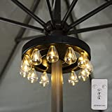Umbrella Lights, Patio Umbrella Lights Battery Operated Wireless with Remote Control, Outdoor Umbrella Pole Light with 12 Warm White 3 Brightness Modes ST38 LED Bulbs, for Backyard Umbrella or Camping