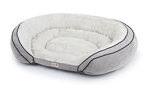 Petlinks 49953 Supreme Soother Gel Memory Foam Pet Bed, Large, Natural Plush/Gray Corduroy