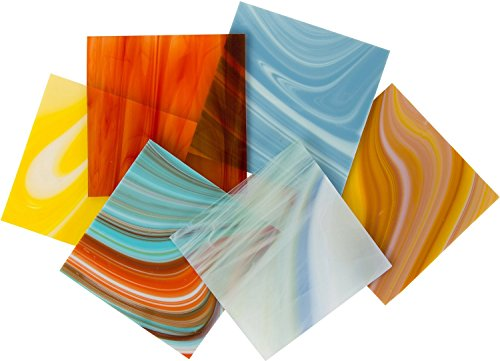 On Sale! COE 96 Deluxe System 96, Assorted Fusible Glass Pack - 4 X 4 Sheets - 6 Pack - by iDichroic