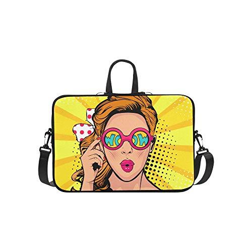 Cooles Hip Hop Girl Gestreiftes T-Shirt Hut Sonnenbrille Muster Aktenkoffer Laptoptasche Messenger Schulter Arbeitstasche Crossbody Handtasche für Geschäftsreisen