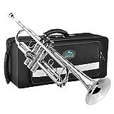 EastRock Trompeta chapada en níquel Sib Trompeta estándar de latón con estuche rígido, guantes, tela, boquilla 7C, instrumentos musicales para estudiantes principiantes