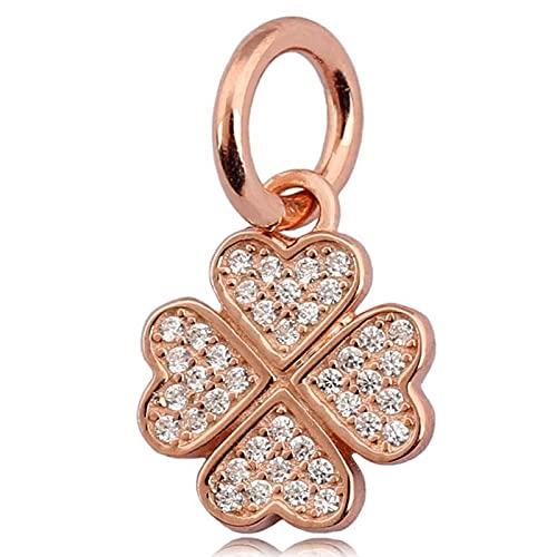 Pandora Fashion 925 Charm Original Rose Lucky In Love Trébol Con Colgante De Cristal Bead Fit Pulsera De Cuentas De Plata Esterlina Joyería Diy
