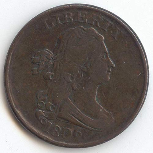 1806 Draped Bust Small 6 No Stems Half Cent Choice Very Fine