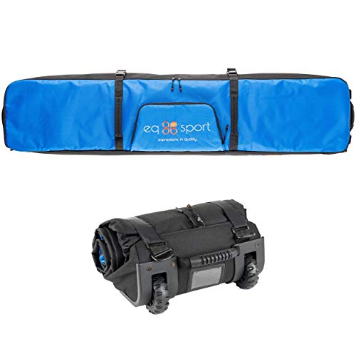 EQ SPORT Padded Snowboard Bag with Wheels for Air Travel (168), Waterproof Roller Snowboard Bag, Rollup Space Saver, Includes Boot Bag for Men/Women