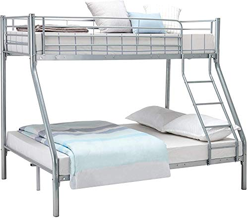 Bunk Bed Triple Sleeper Single Double Bunk Bed Child Adult Bed Frame,Silver