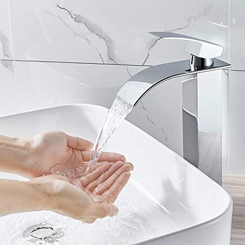 WOOHSE Rubinetto a cascata per Lavabo bagno Miscelatore Monocomando senza Sistema di scarico, Cromato, WH7010