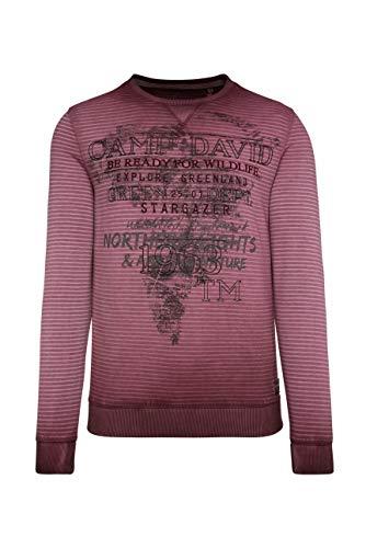 Camp David Herren Sweatshirt mit Streifendruck und Artworks