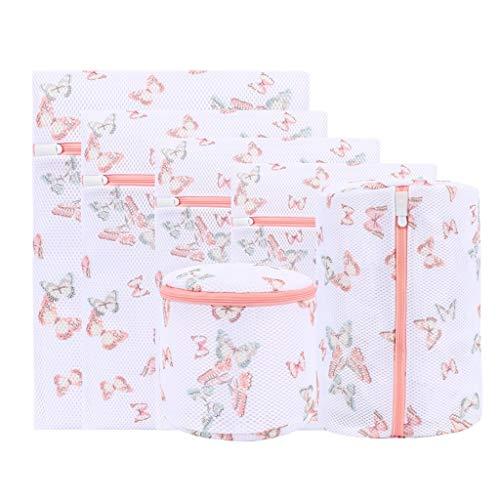 OUBOT Bolsa de lavandería de malla gruesa, bolsa de almacenamiento, bolsa de viaje, diseño impreso, bolsa de lavandería para ropa delicada, bolsa de viaje de seis piezas (color: mariposa, seis piezas)