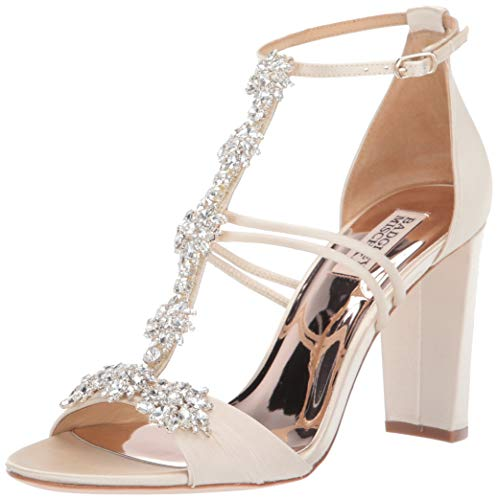 Badgley Mischka Women's Laney Heeled Sandal, Ivory Satin, 8 M US