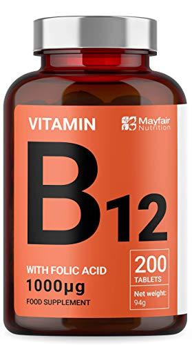 Vitamina B12 con ácido fólico | 200 tabletas de primera calidad de 1000 mg | Suplemento vegetariano y vegano | No OGM y sin gluten | Suministro para 6 meses | Hecho en UK por Mayfair Nutrition