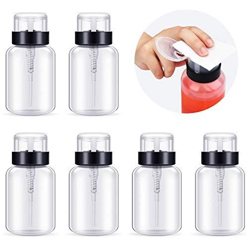 6 Pieces Push Down Pump Dispenser Lockable Dispenser Bottle Clear Empty Bottle for Nail Polish and Makeup Remover, 200 ml/ 6.8 oz