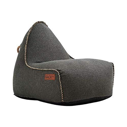 SACKit - RETROit Cobana - Outdoor/Indoor Sitzsack & Sessel mit Lehne - Perfekt für die Lounge oder draußen im Garten oder Balkon - Kombinierbar mit einem Hocker - Dänisches Design - Grau