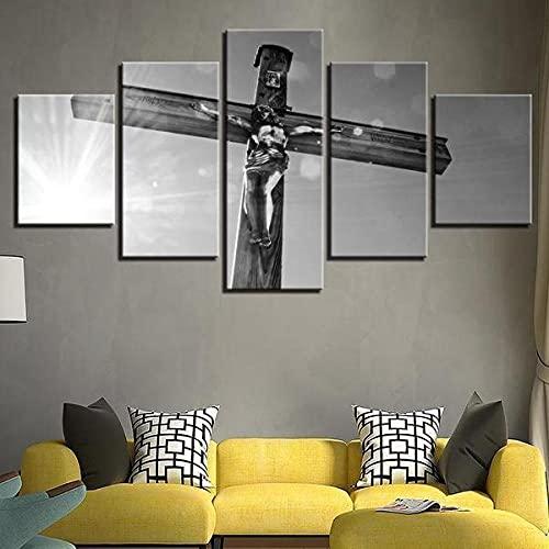 BHJIO Impresiones sobre Lienzo 5 Cuadros En Lienzo Modernos Dormitorios Murales Pared Lona XXL Grande Hogar Cuadros Decora Salón Piezas Jesús En La Cruz