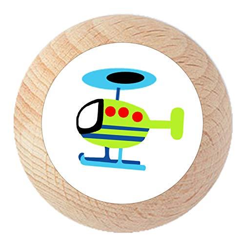 """Möbelknauf""""Hubschrauber"""" natur klar lackiert Holz Buche Kinder Kinderzimmer 1 Stück Fahrzeuge Transportfahrzeuge Traum Kind"""