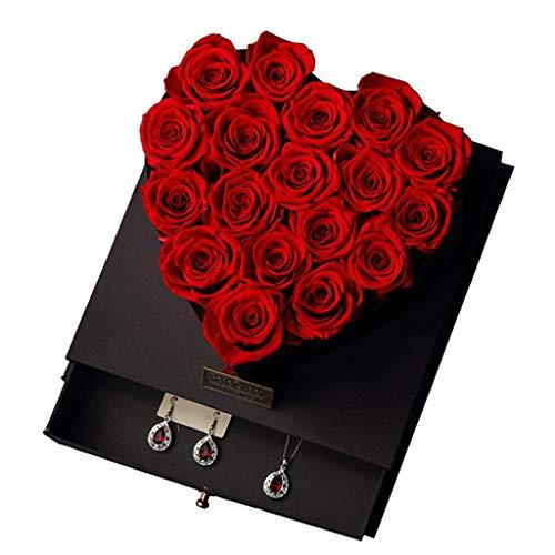 ZLF En Forma de corazón 19 Cabezal Hecho a Mano recién preservado Caja de Rosa pulsado joyería Push-Tire de joyería Rosa, Regalar para cumpleaños, Aniversarios, cenas, Dura 3-5 años