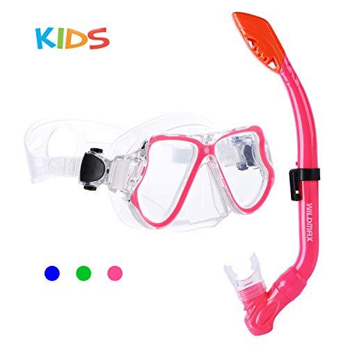 SKL Taucherbrille mit Schnorchel Schnorchelset Kinder Tauchset aus Gehärtetem Glas Anti-Leck Anti-Fog, ideal für Tauchen, Schnorcheln und Schwimmen, Kinder Tauchset Rosa