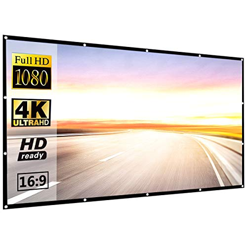 120 Inch 16:9 HD Projector Screen, P-JING Portable Widescreen Foldable Anti-Crease Indoor Outdoor PVC Projector Movies Screen for Home Theater Support Double Sided Projection