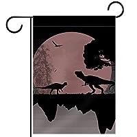ホームガーデンフラッグ両面春夏庭の屋外装飾 12x18in,満月の恐竜