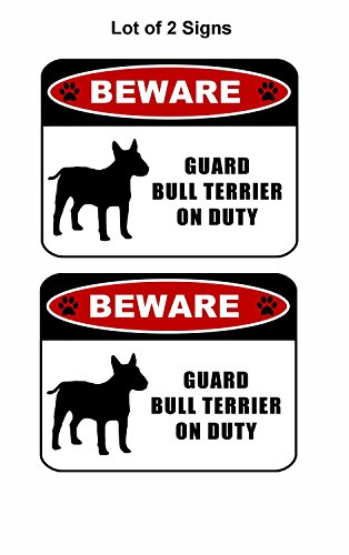 PCSCP 2 count Beware Guard Bull Terrier (silhouette) on Duty 11.5 inch x 9 inch Laminated Dog Sign