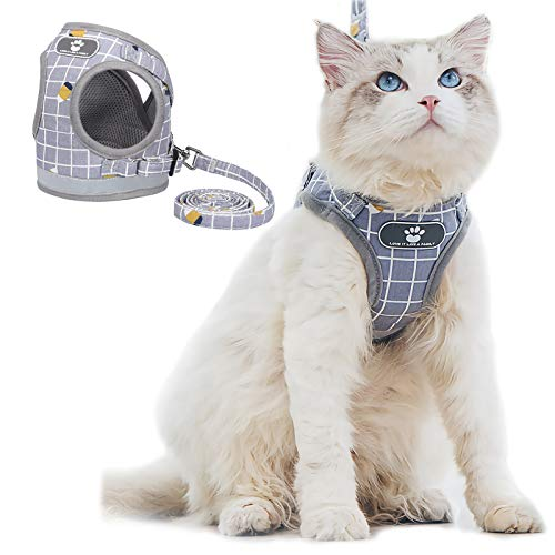Cat and Puppy Harness with Leash Set, Plaid Adjustable Outdoor Small Dog Full Body Vest Escape Proof Safety, Breathable Comfort Reflective Cat Harnesses, Fit Kittens Small Animals (M, Gray)