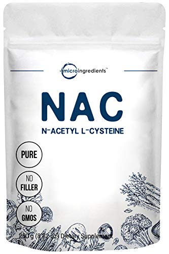 Micro Ingredients Pure NAC Powder (N Acetyl L-Cysteine Powder), 250 Gram, Supports Liver and Lung Function, Non-GMO