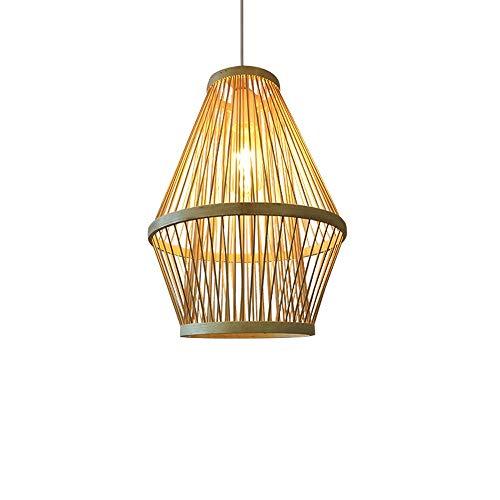 Libuty Moderne chinesische Art Bambus gewebt Bambus Kunst Rattan-Leuchter kreatives Restaurant Hotel Schlafzimmer Wohnzimmer Laterne, Urlaub auf dem Bauernhof Art Retro-Anhänger-Licht-Befestigungen