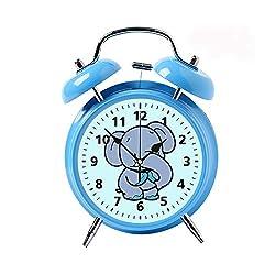 Children's Desk Decor Decorative Alarm Clock Bedside Snooze Double Bell Silent Bedroom Quartz Round Digital Living Room Metal Blue Cute Elephant Cute Animals Fun for Children