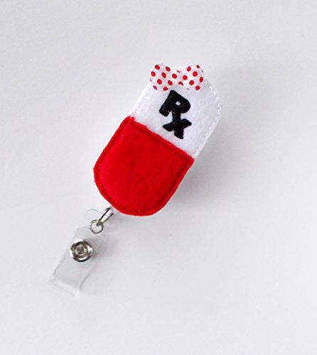 RX Capsule - Retractable Badge Reel - RX Badge Holder - Pharmacy Badge Holder - Pharmacist Badge Clip - Pharmacy Tech Badge - Medical Badge