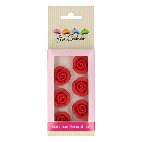 FunCakes Decoraciones de Mazapán Rosas Listo Para ser Usar en la Decoración de Tartas, Perfecto para Cupcakes Temáticas y más, Certificado Sin Gluten, Set/6