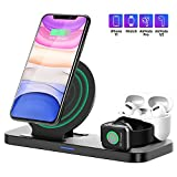 Wireless Charger Stand 3 in 1, Upgraded Apple Charger Station for Apple Watch 1/2/3/4/5 AirPods iPhone 11/11pro/11pro Max/X/XS/XR/XS Max/8/8 Plus and Other Qi-Enable Phone(Adapter Not Included)