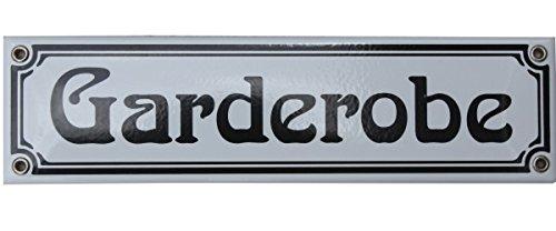 Garderobe Emaille Schild 8 x 30 cm Jugendstil Emailschild Garderobe weiß.