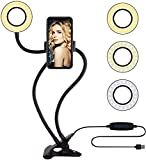 【2020 Latest Version Ring Light】Perfect extra light for makeup, selfie, livestream, live broadcast, lives show, selfie or video chat, or just works as desk lamp or shooting videos. 【 Carbon Steel Arm】 High Density carbon steel arm (23inch) is strong ...