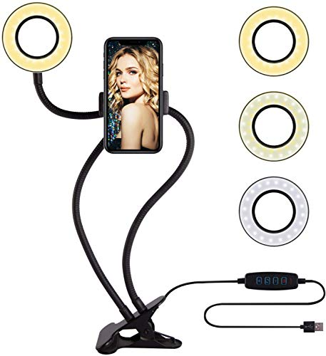 Unifree Professional Selfie Ring Light and Cell Phone & Webcam Holder Stand for Live Stream, Makeup TIK Tok, Vigo, YouTube and Video Recording.