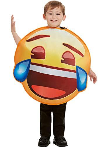 Funidelia | Costume da Emoji Sorridente con Lacrime Ufficiale per Bambina e Bambino Taglia 6-12 Anni ▶ Emoticon, Whatsapp, Originali e Divertente - Giallo