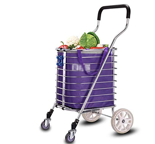 DZX Hand Trucks Klappbarer Einkaufswagen tragbare Lebensmittel, praktische leichte Treppen, abnehmbare...