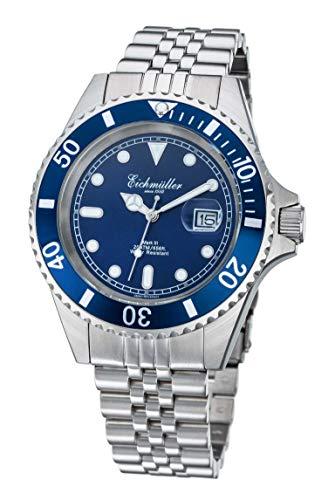 Eichmüller 3464-04 - Orologio subacqueo in acciaio INOX, 20 ATM, cinturino in acciaio INOX, 43 mm, colore: Blu