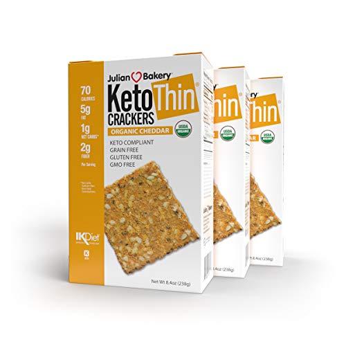 Julian Bakery Keto Thin Crackers | Organic Cheddar | USDA Organic | Gluten-Free | Grain-Free | GMO Free | Low Carb | 3 Pack