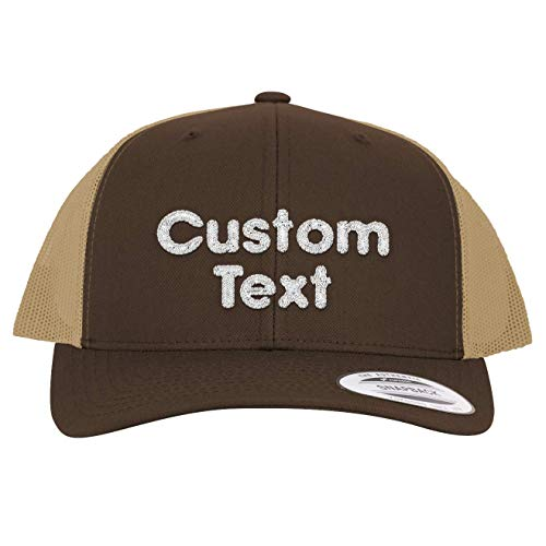 Custom Personalized Embroidered Text STC39 Trucker Hat CP07, Chocolate BrownKhaki