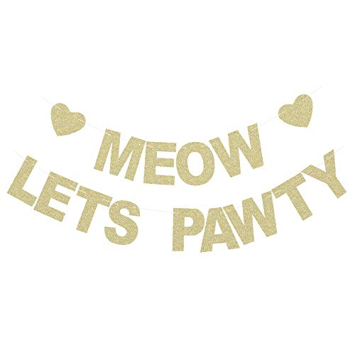 Meow Let's Pawty Banner - Pet Kitten's Birthday Party Backdrops - Pet Cats Party Gold Glitter Paper Photoprops