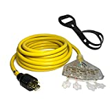 Kutatek 25Ft L14-30P to Four 5-20R, 4 Prong Generator Distribution Extension Power Cord, 30 Amp 125/250V 7500 Watts, 10 Gauge SJTW Cable