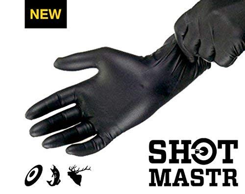 SHOTMASTR Premium Long Cuff Nitrile Gloves [Black, 30-Pack]