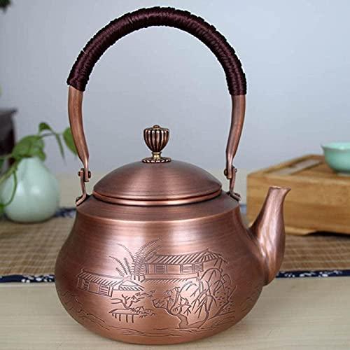 Tetera de cobre QOHG, tetera de cobre antiguo de estilo japonés, tetera de hierro para la salud, juego de té de Kung Fu-B_1500ML